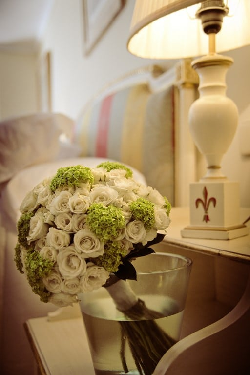 el ramo de la novia antes de la ceremonia